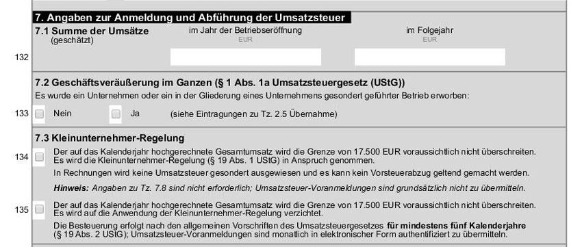 Anmeldung und Abführung der Umsatzsteuer - Fragebogen